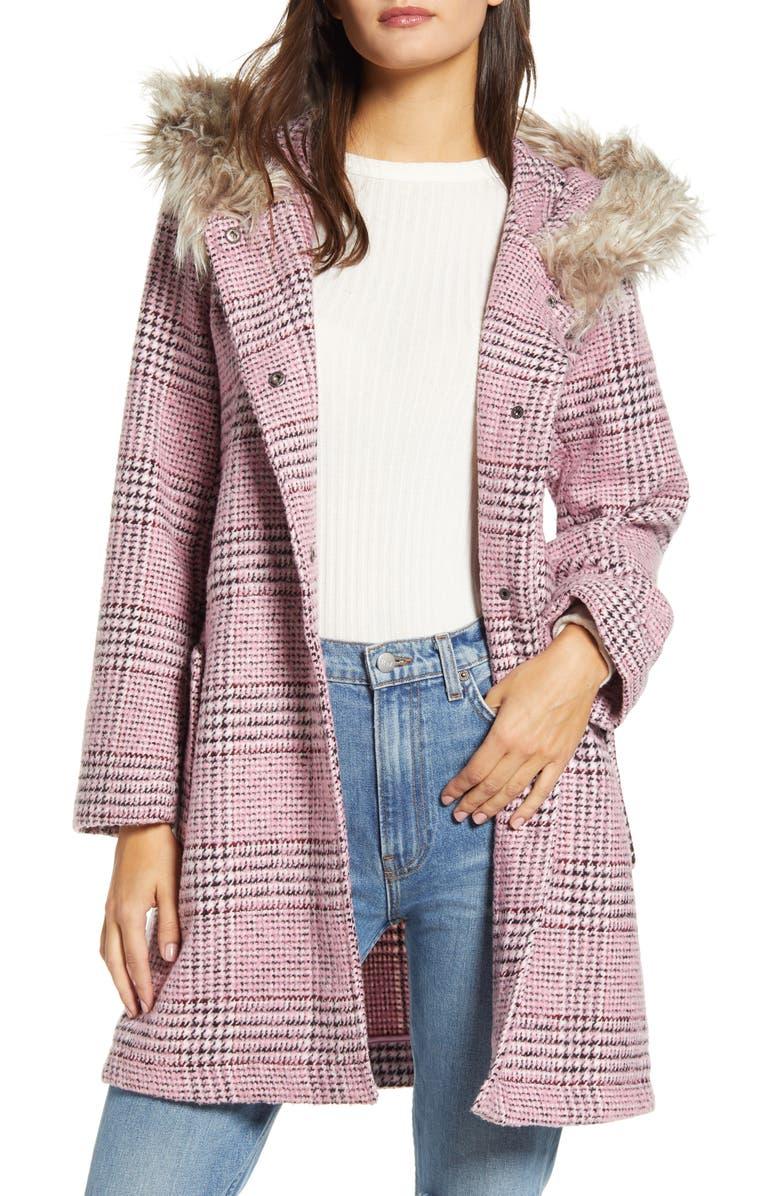 BB DAKOTA Pink Slip Houndstooth Plaid Hooded Coat, Main, color, LIGHT FUSCHIA