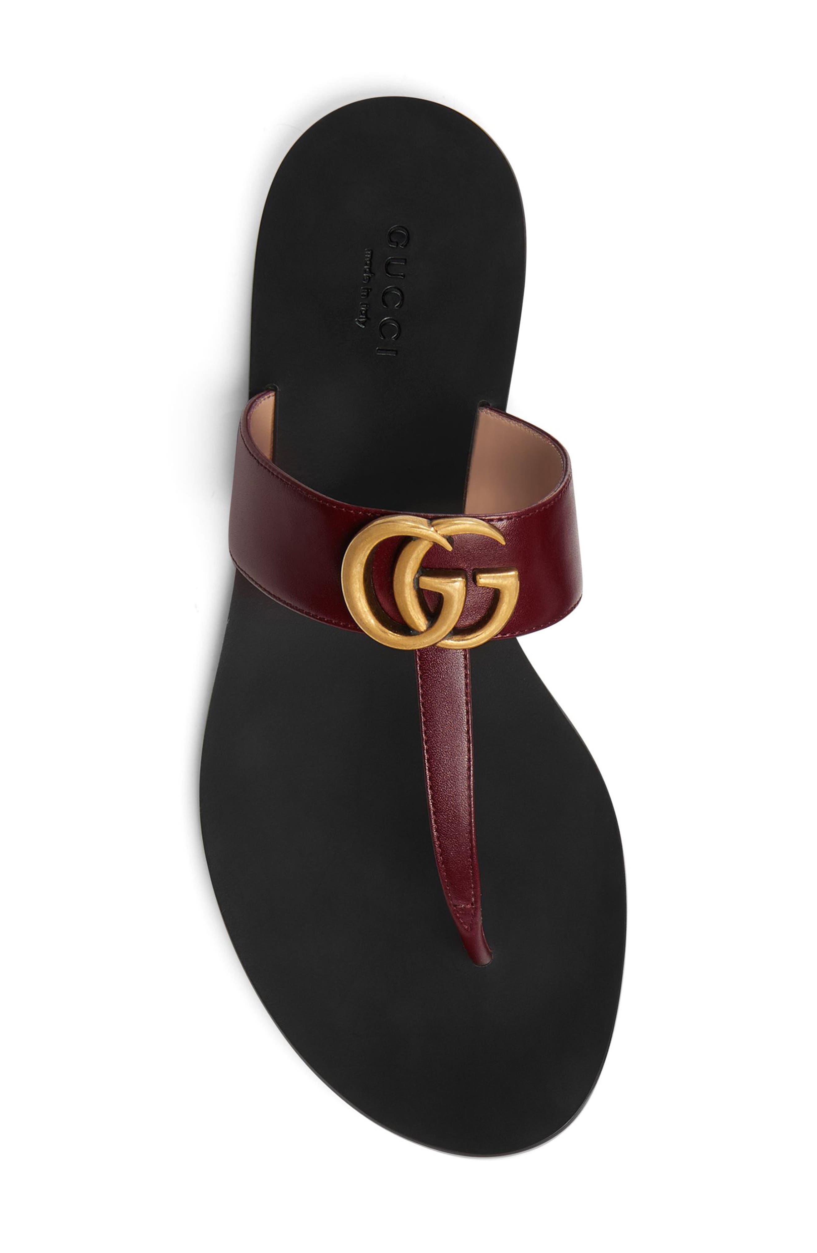 ,                             Marmont T-Strap Sandal,                             Alternate thumbnail 4, color,                             VINTAGE BORDEAUX