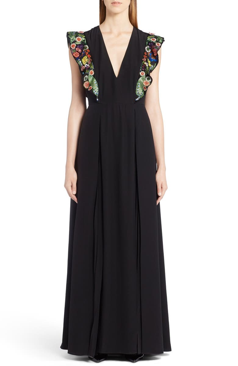 FENDI Embellished Ruffle Gown, Main, color, 001