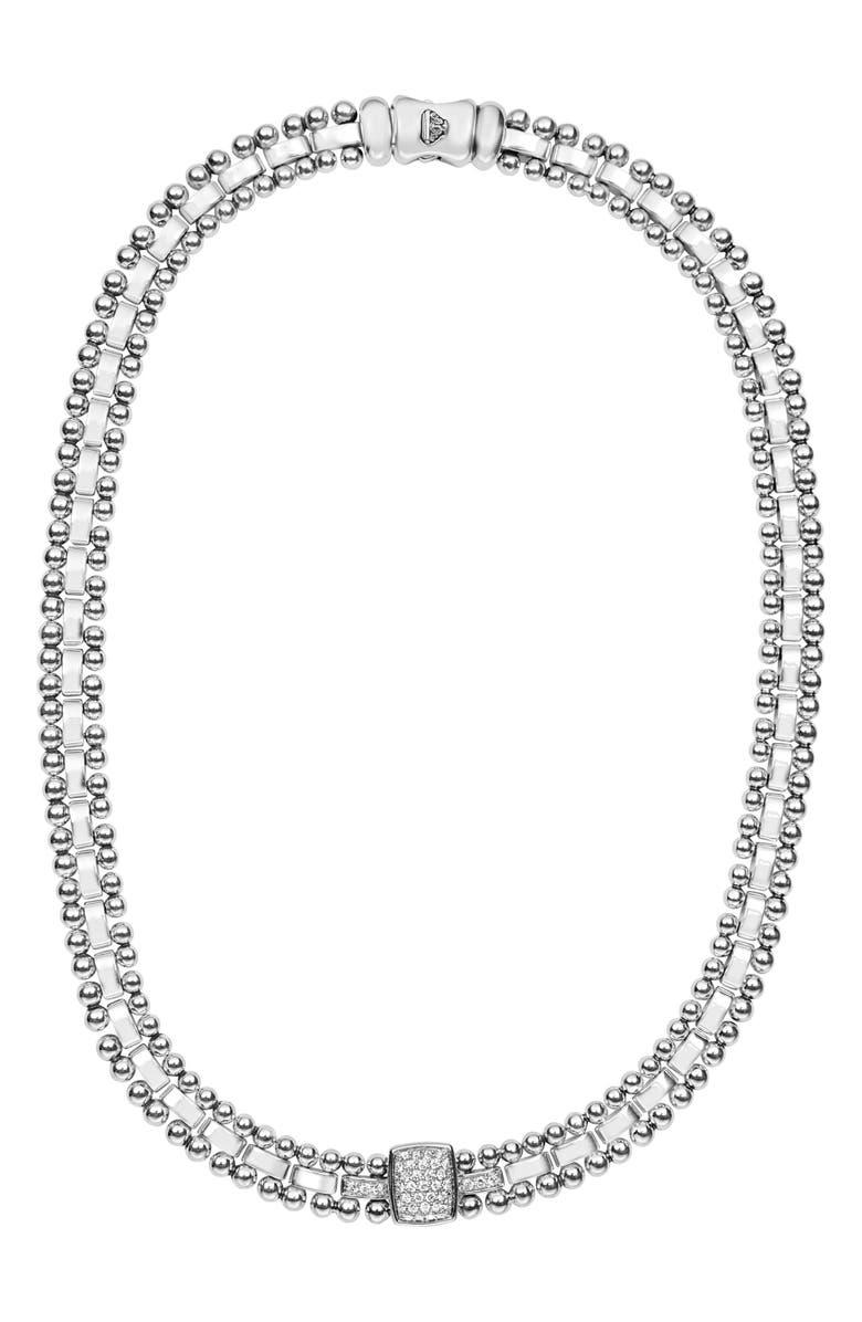 LAGOS Caviar Spark Diamond Collar Necklace, Main, color, SILVER/ DIAMOND