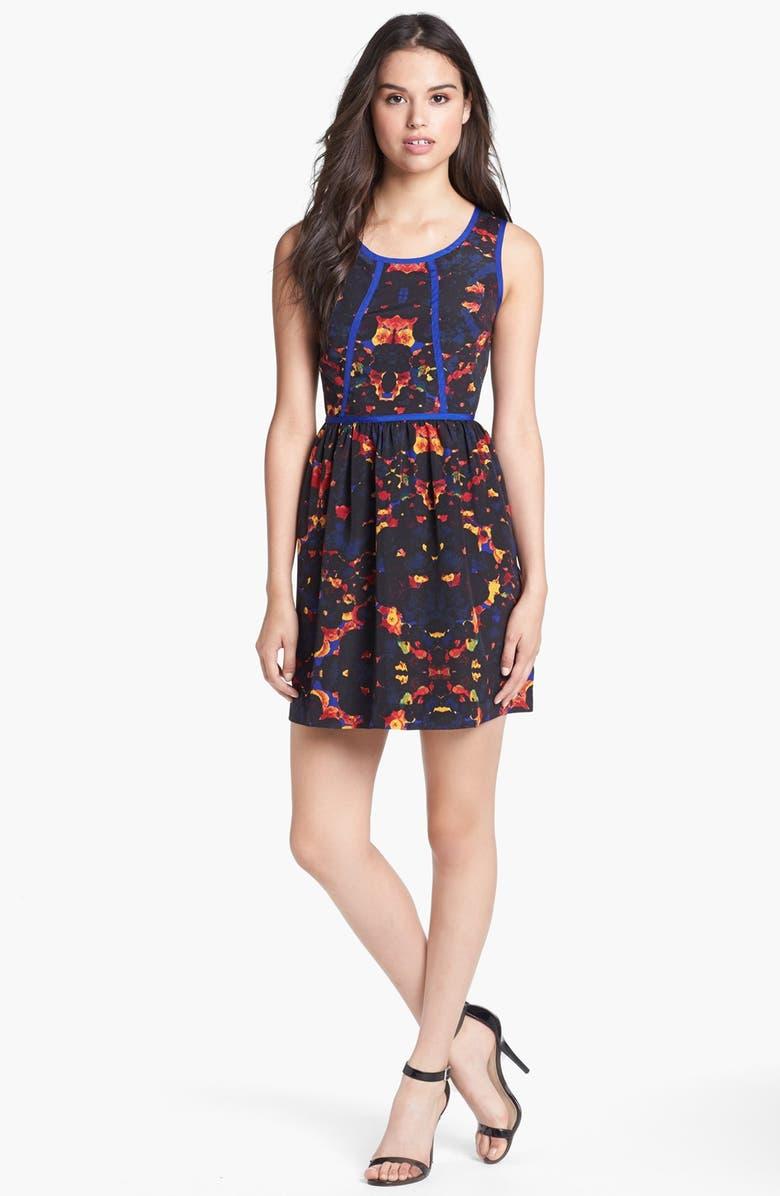 KENSIE Contrast Trim Floral Fit & Flare Dress, Main, color, 004
