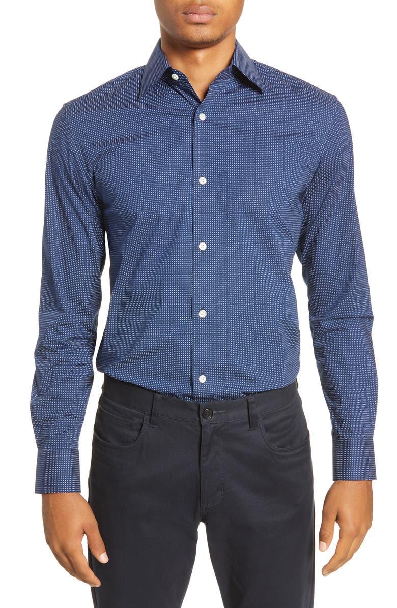 BONOBOS Slim Fit Dot Stretch Dress Shirt, Main, color, DIMITRI DOTS - RAINSTORM