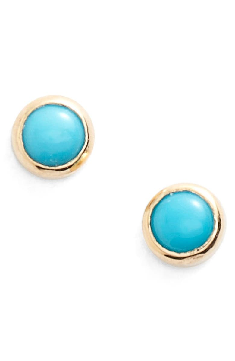 ZOË CHICCO Turquoise Stud Earrings, Main, color, TURQUOISE