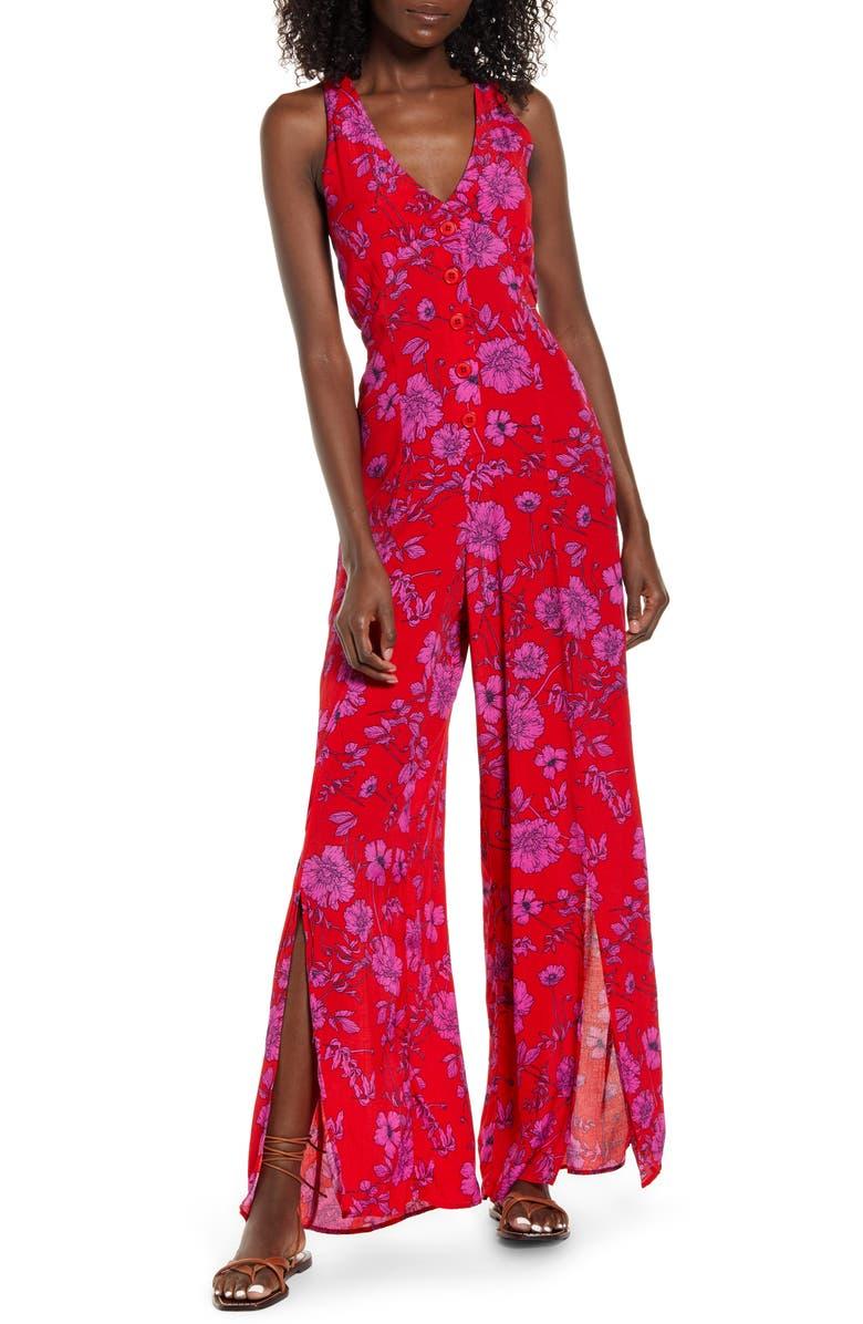 BAND OF GYPSIES Eze Slit Hem Jumpsuit, Main, color, RED MAG