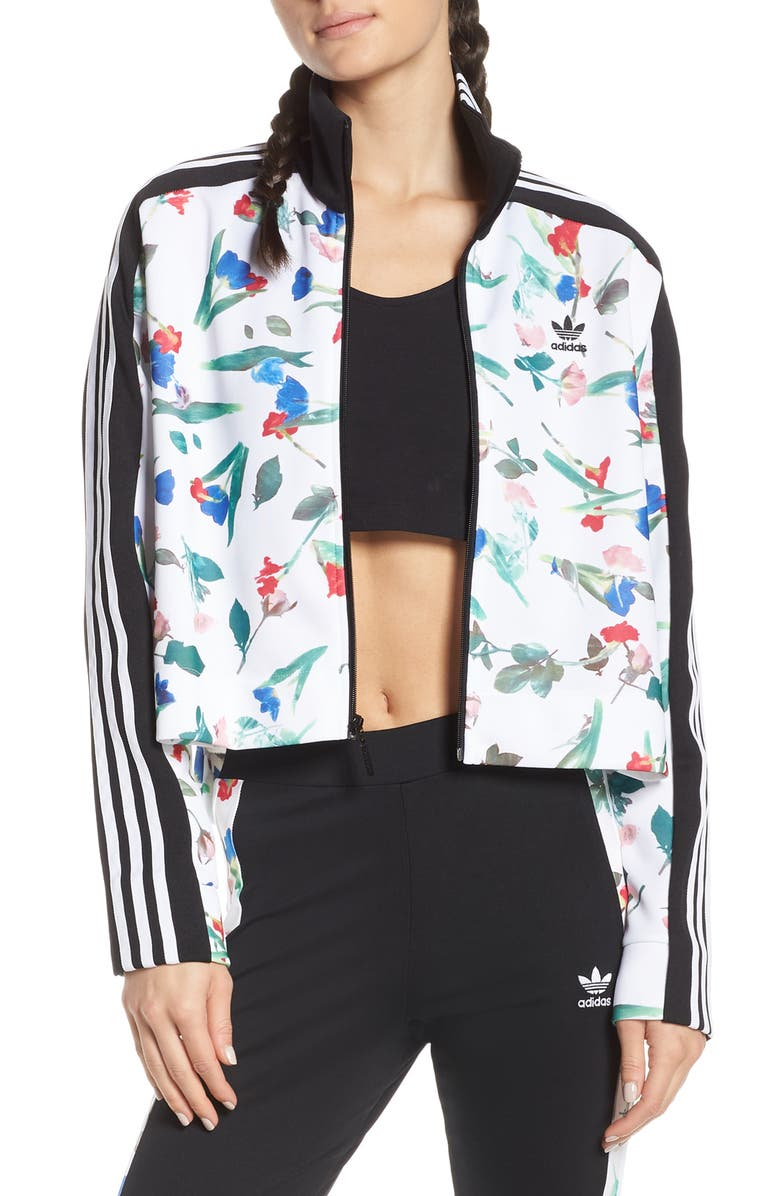 Adidas Originals Floral Print Crop Track Jacket