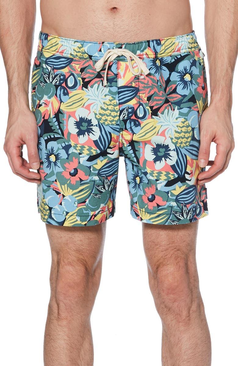 ORIGINAL PENGUIN Floral Print Shorts, Main, color, 485