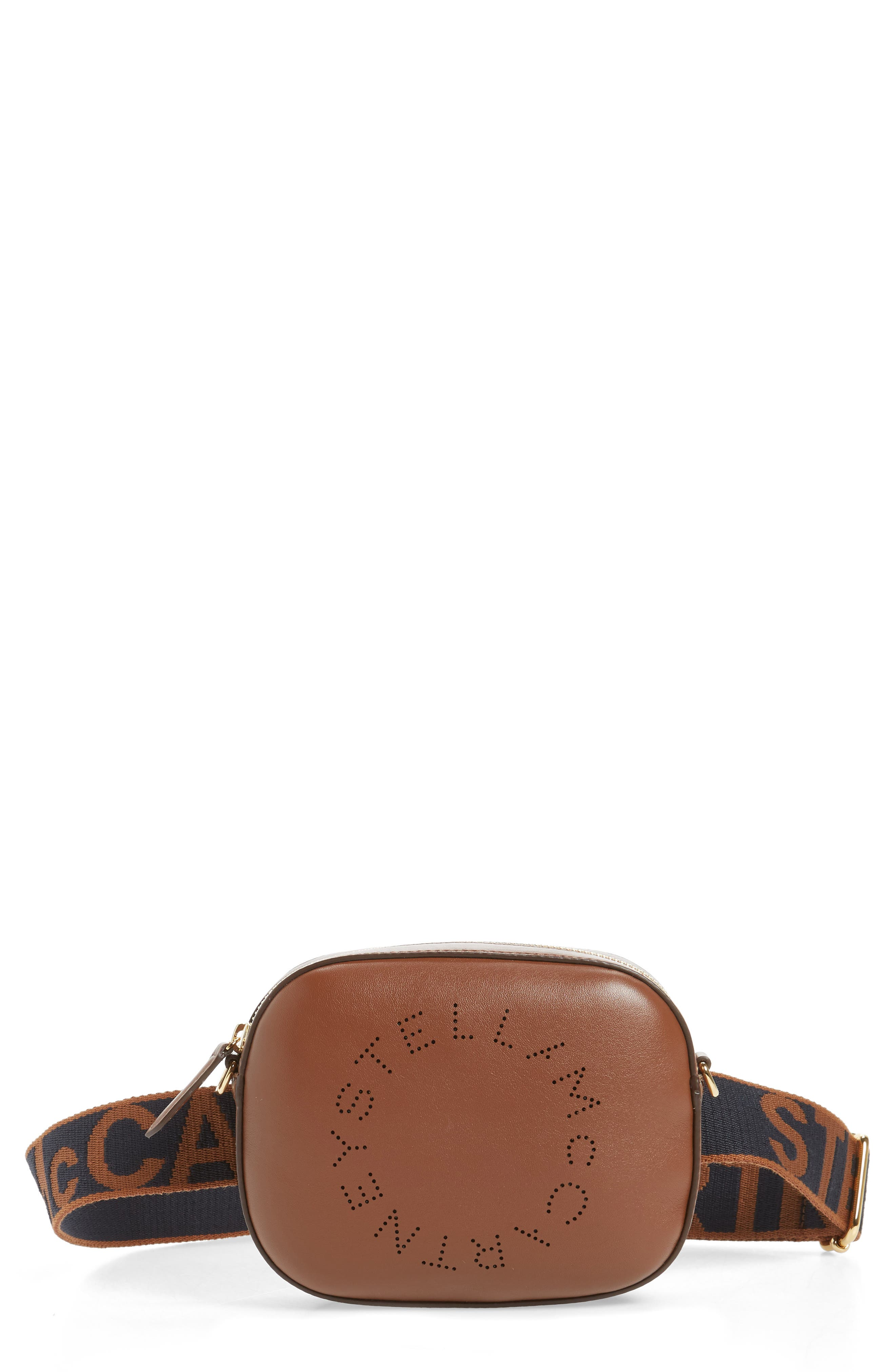 Stella Mccartney Perforated Logo Convertible Faux Leather Belt Bag - Brown