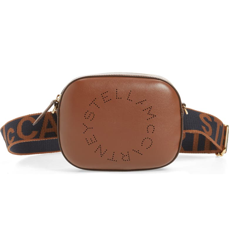 STELLA MCCARTNEY Perforated Logo Convertible Faux Leather Belt Bag, Main, color, CINNAMON