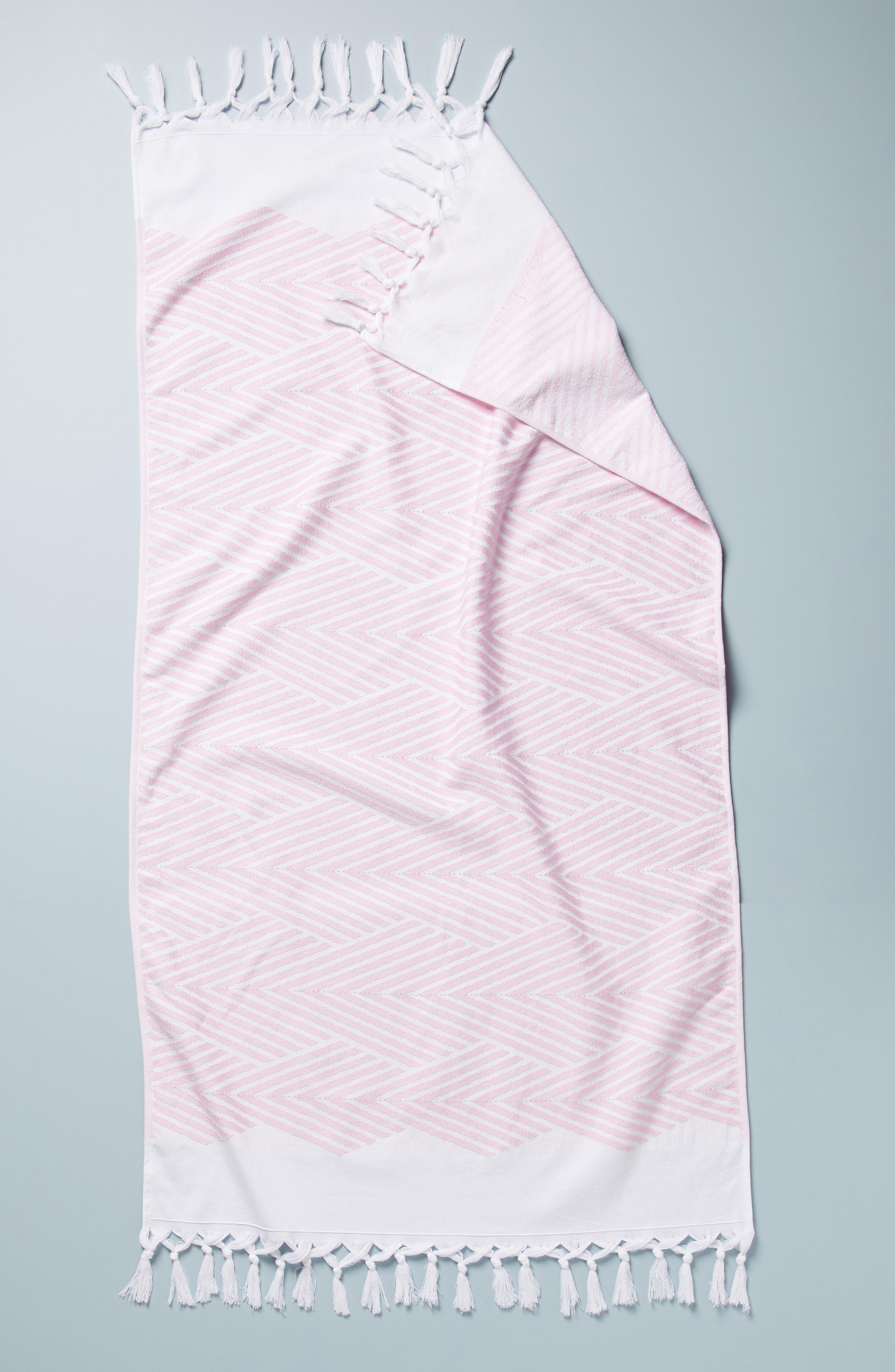 ,                             Simena Tassel Bath Towel,                             Main thumbnail 1, color,                             PINK