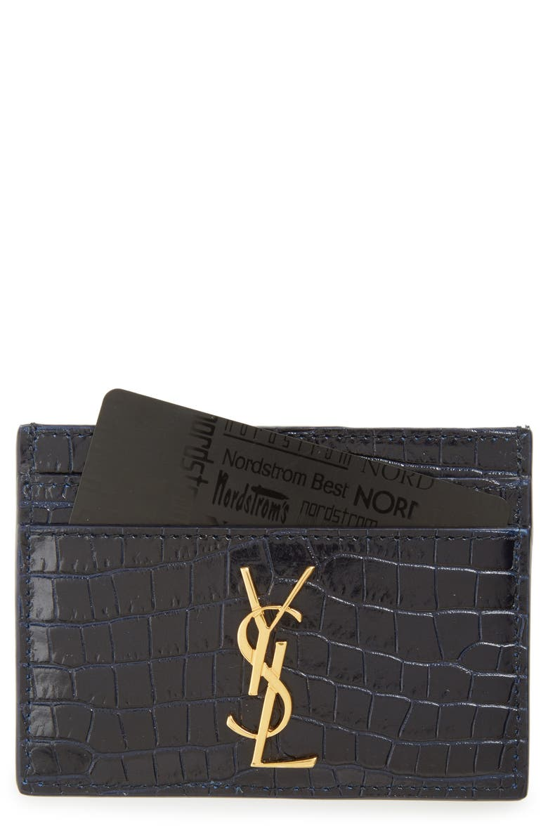 SAINT LAURENT Monogram Croc Embossed Leather Card Case, Main, color, 405