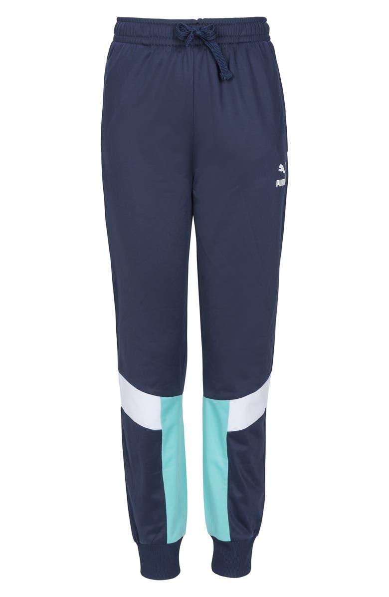 PUMA MCS Brushed Tricot Track Pants, Main, color, PEACOAT