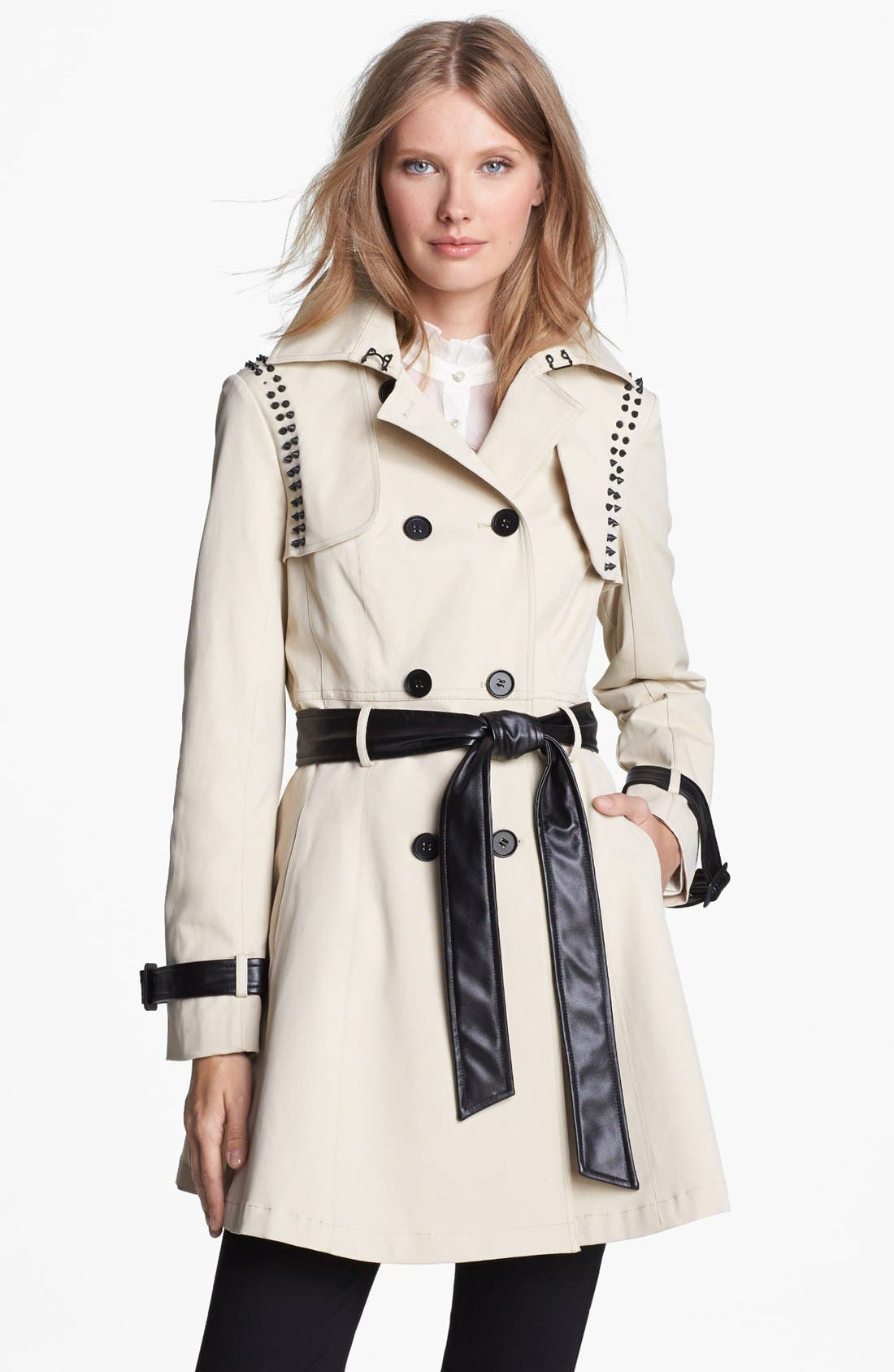 ,                             Stud & Faux Leather Trim Trench Coat,                             Main thumbnail 2, color,                             272