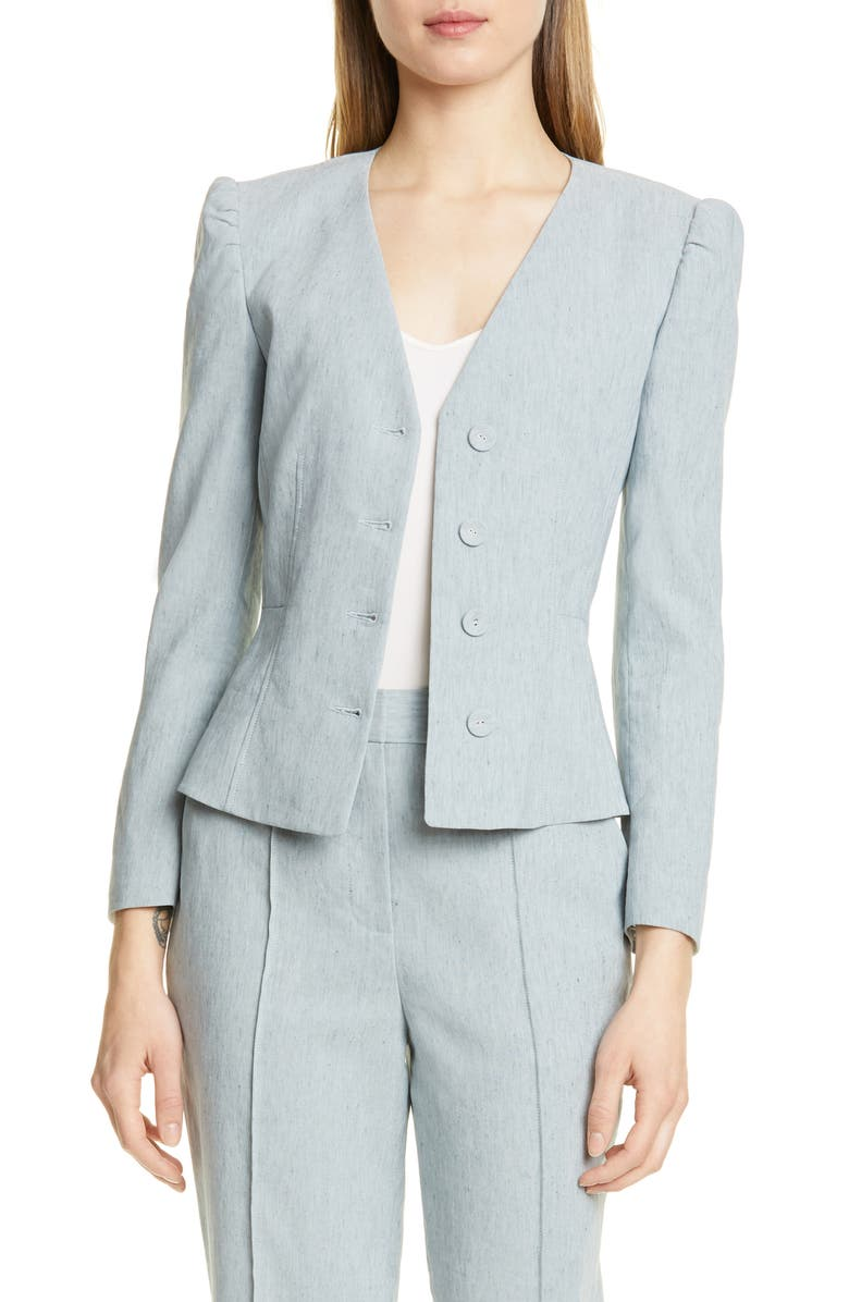 Collarless Linen Blend Jacket by Tailored By Rebecca Taylor