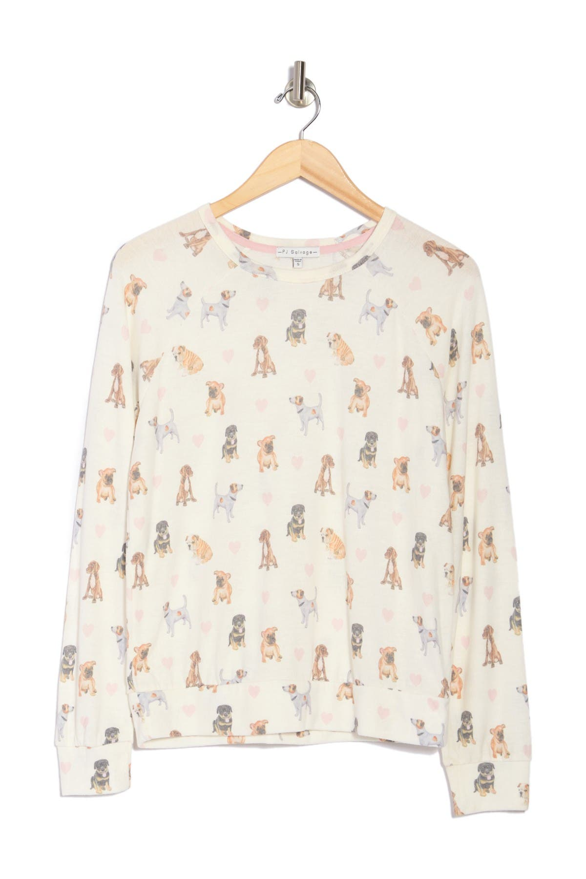 Pj Salvage Long Sleeve Printed Top In Ivory