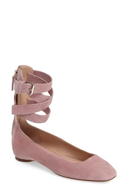 Image of Valentino Suede Ankle Wrap Ballet Flat