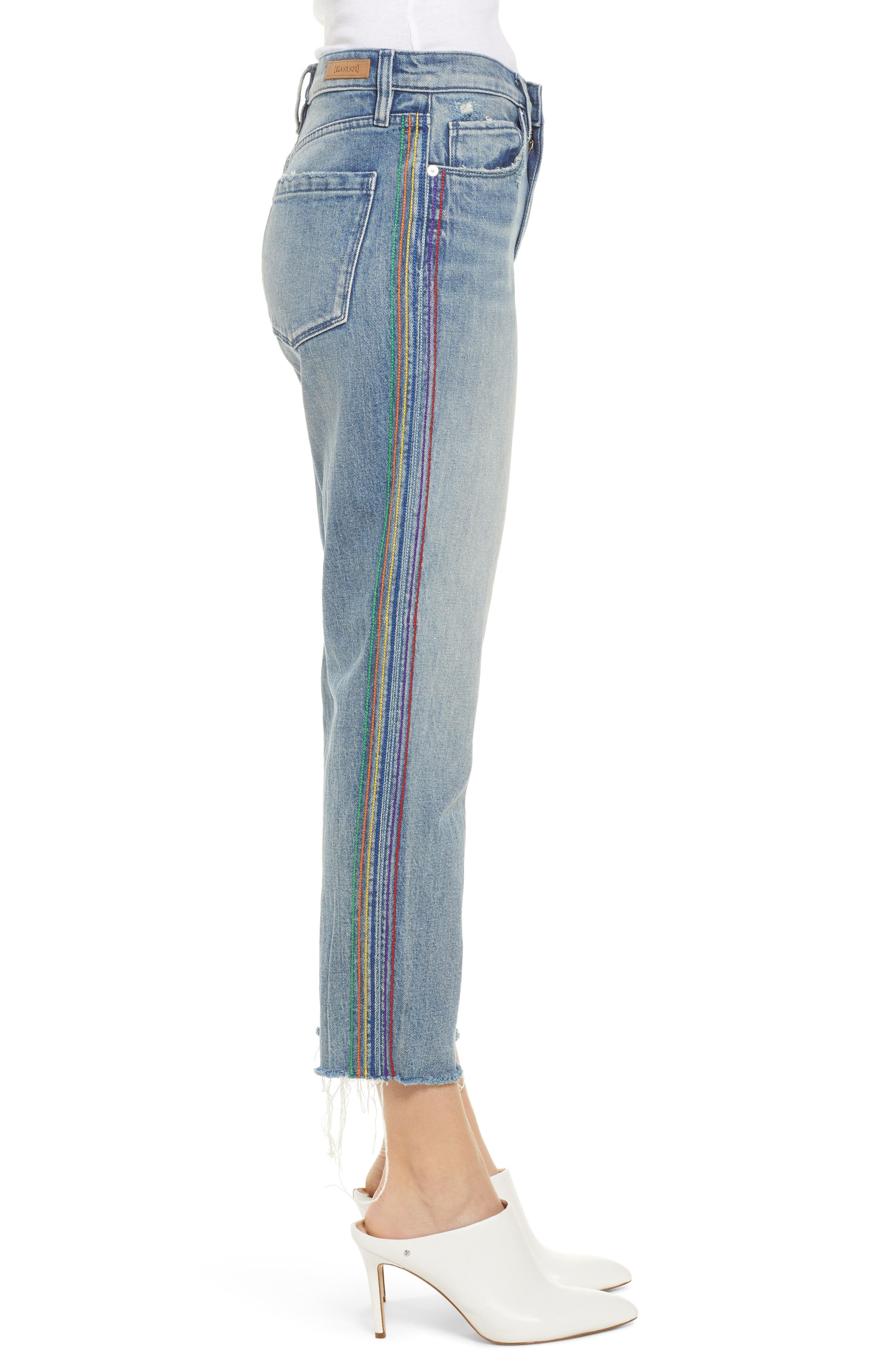 ,                             Rainbow Side Seam Ripped Straight Leg Jeans,                             Alternate thumbnail 4, color,                             400