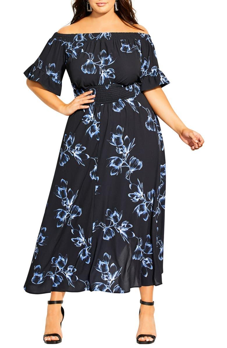 CITY CHIC Hiroto Off the Shoulder Maxi Dress, Main, color, HIROTO FLORAL