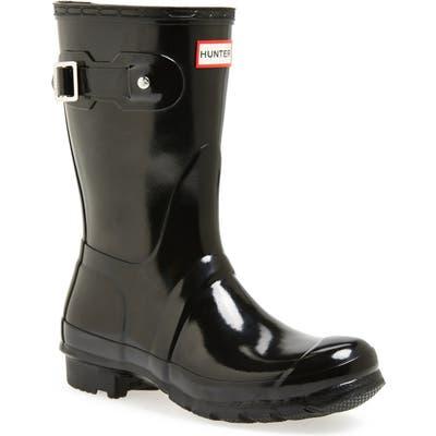 Hunter Original Short Gloss Waterproof Rain Boot, Black