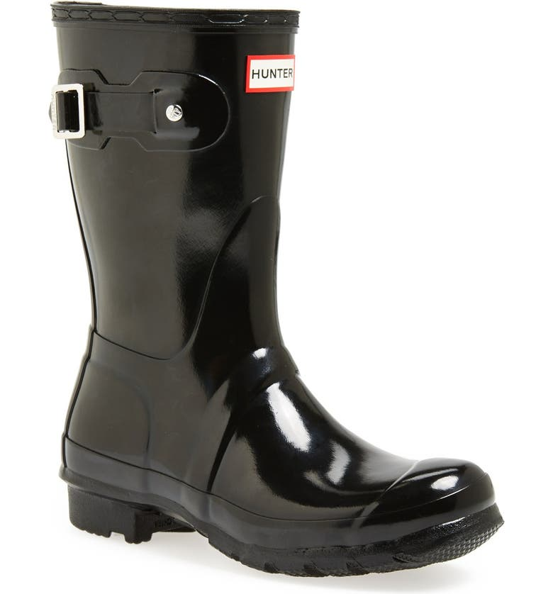 HUNTER Original Short Gloss Waterproof Rain Boot, Main, color, BLACK