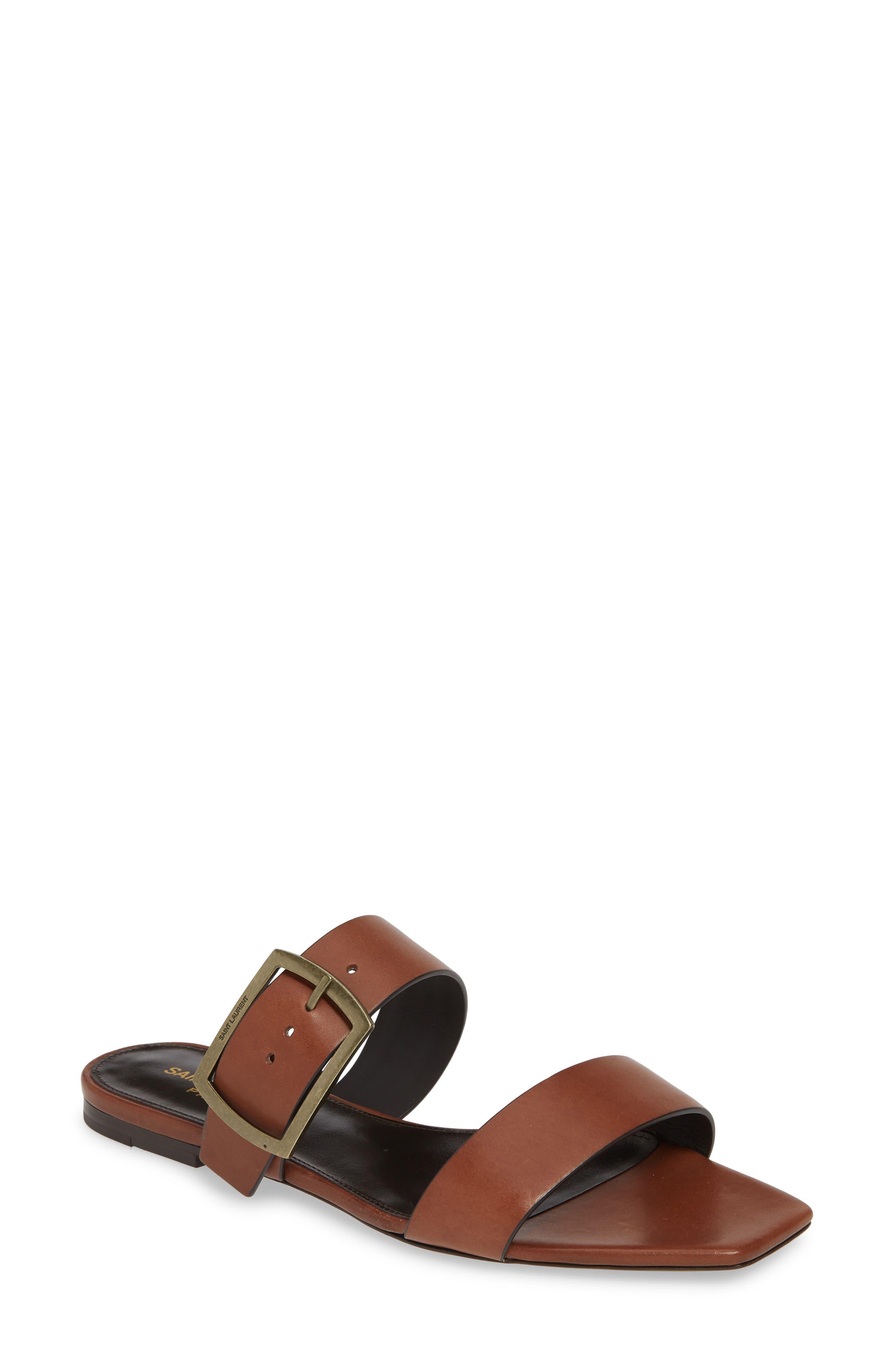 Saint Laurent Oak Nu Pieds Sandal, Brown