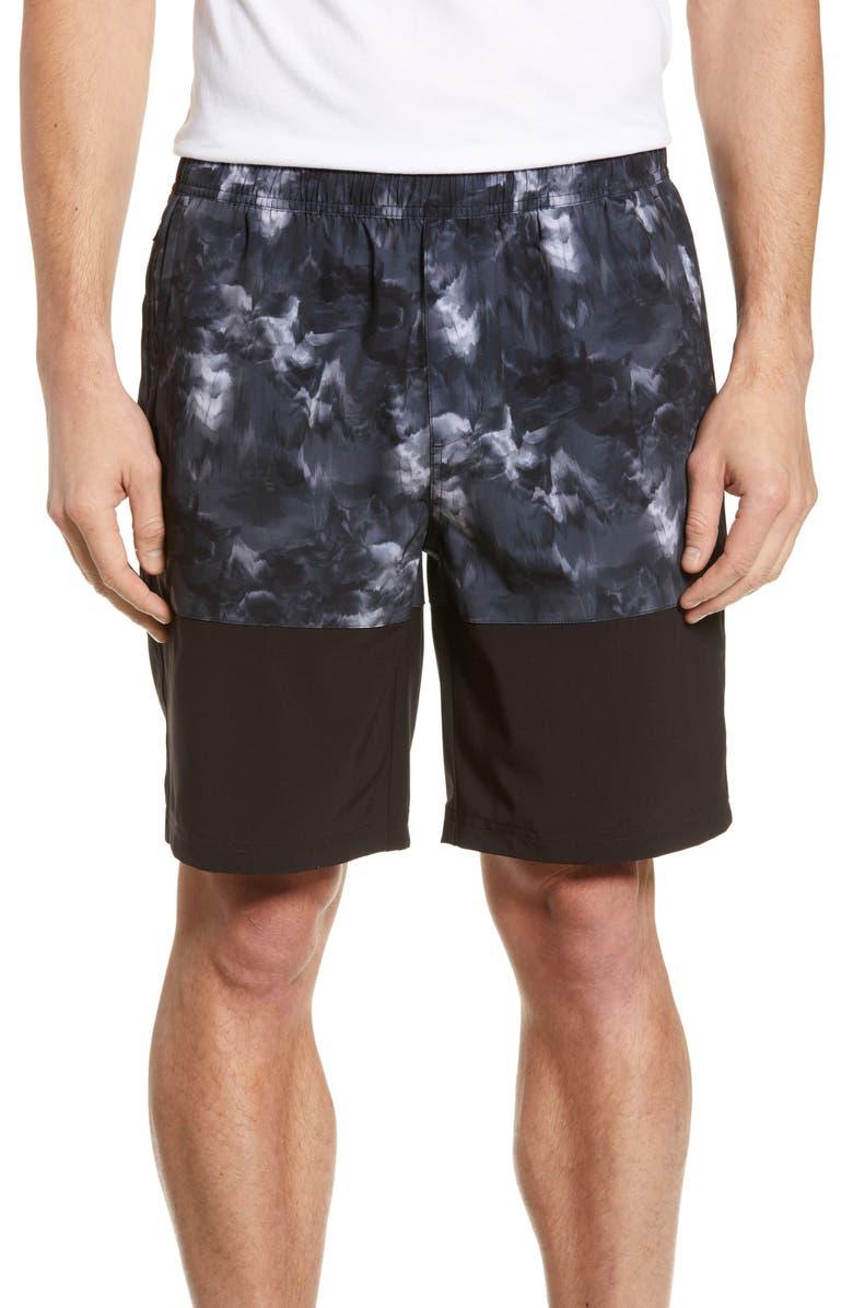 ZELLA Colorblock Training Shorts, Main, color, BLACK PRINT BLACK COLOR BLOCK