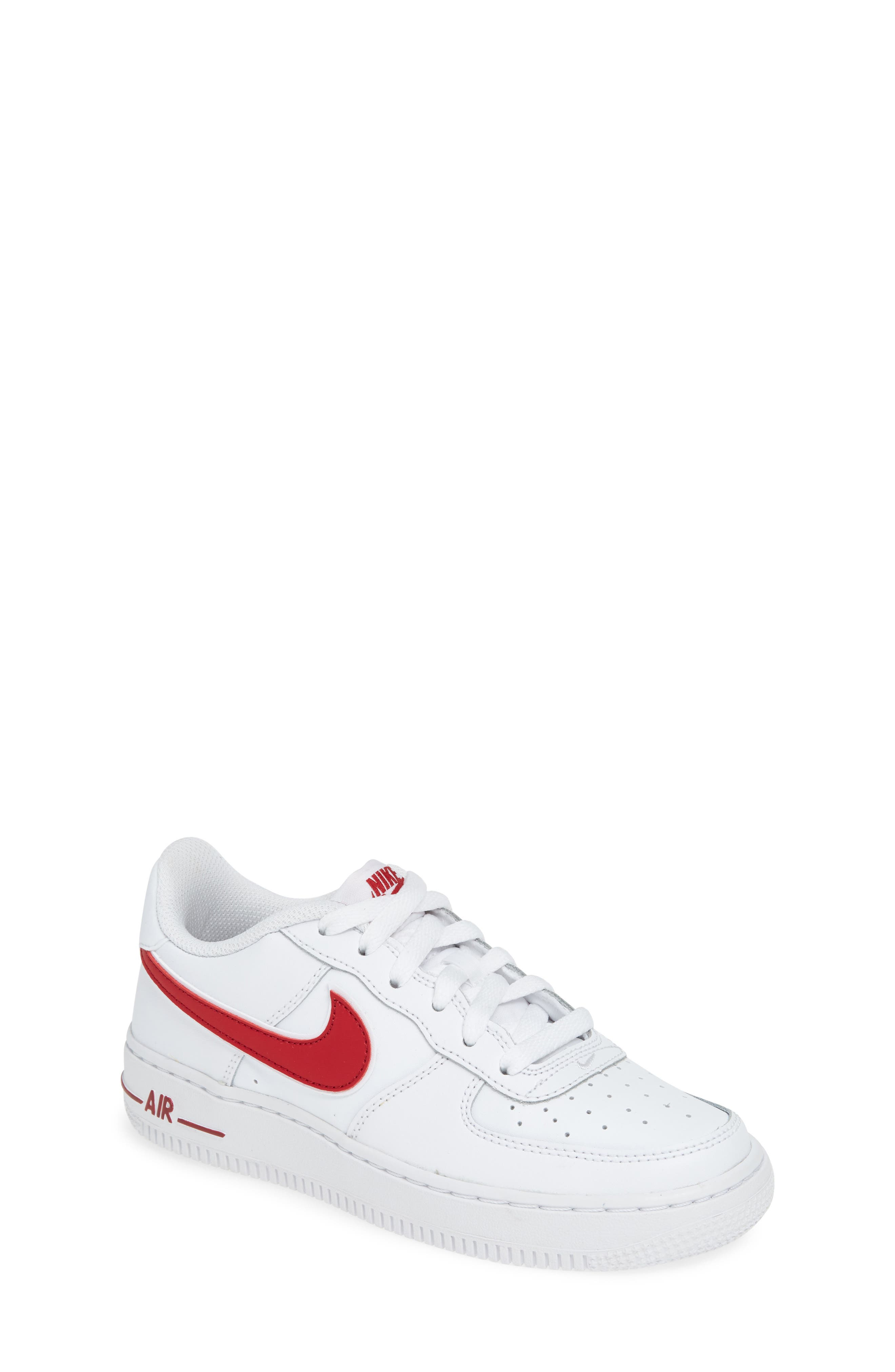 ,                             Air Force 1-3 Sneaker,                             Main thumbnail 1, color,                             WHITE/ GYM RED