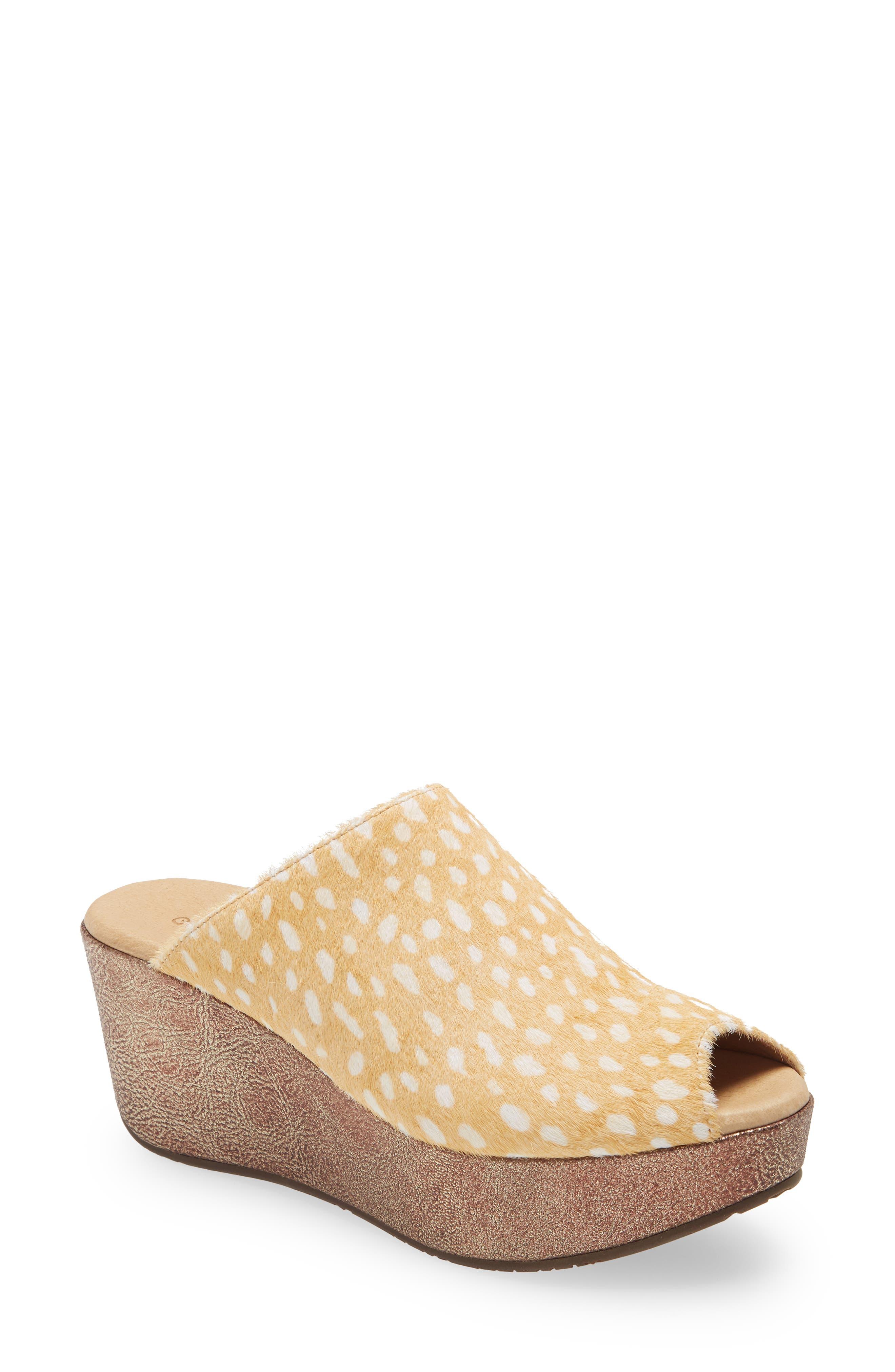 Yiona Genuine Calf Hair Wedge Slide Sandal