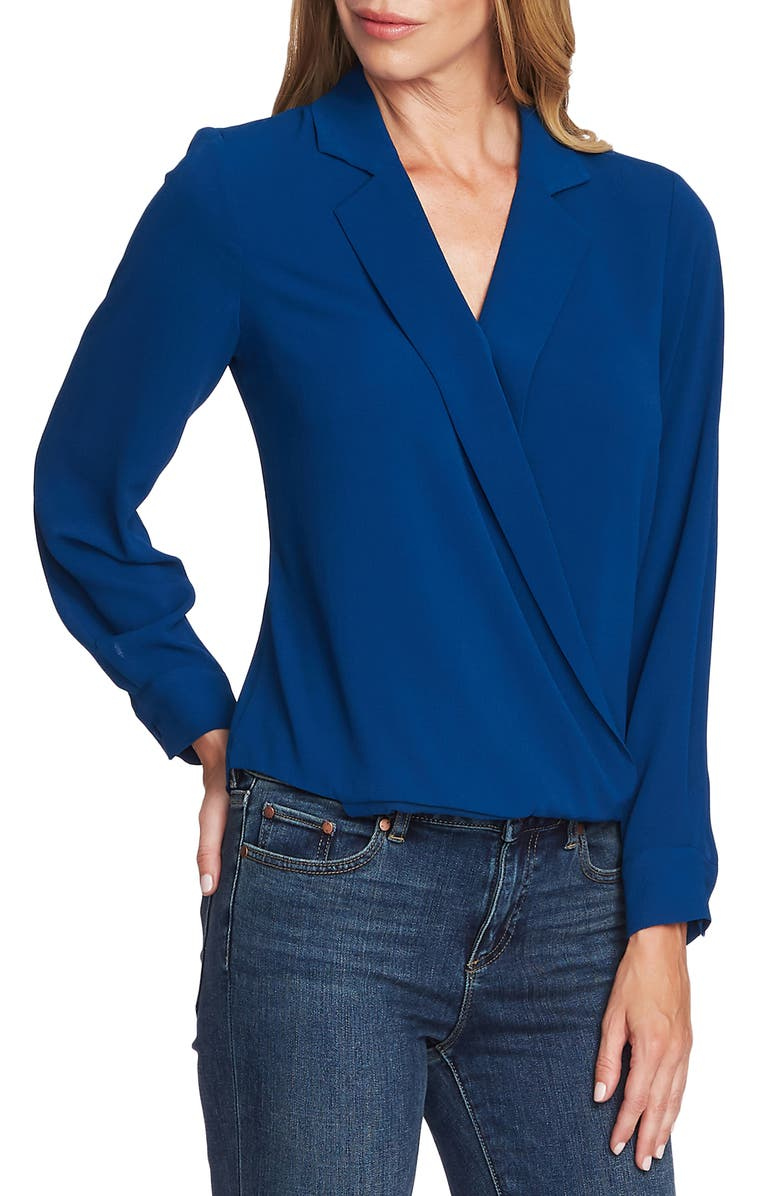 VINCE CAMUTO Faux Wrap Top, Main, color, DEACON BLUE