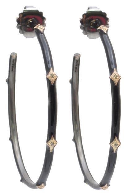 Armenta NEW WORLD DIAMOND ENAMEL HOOP EARRINGS