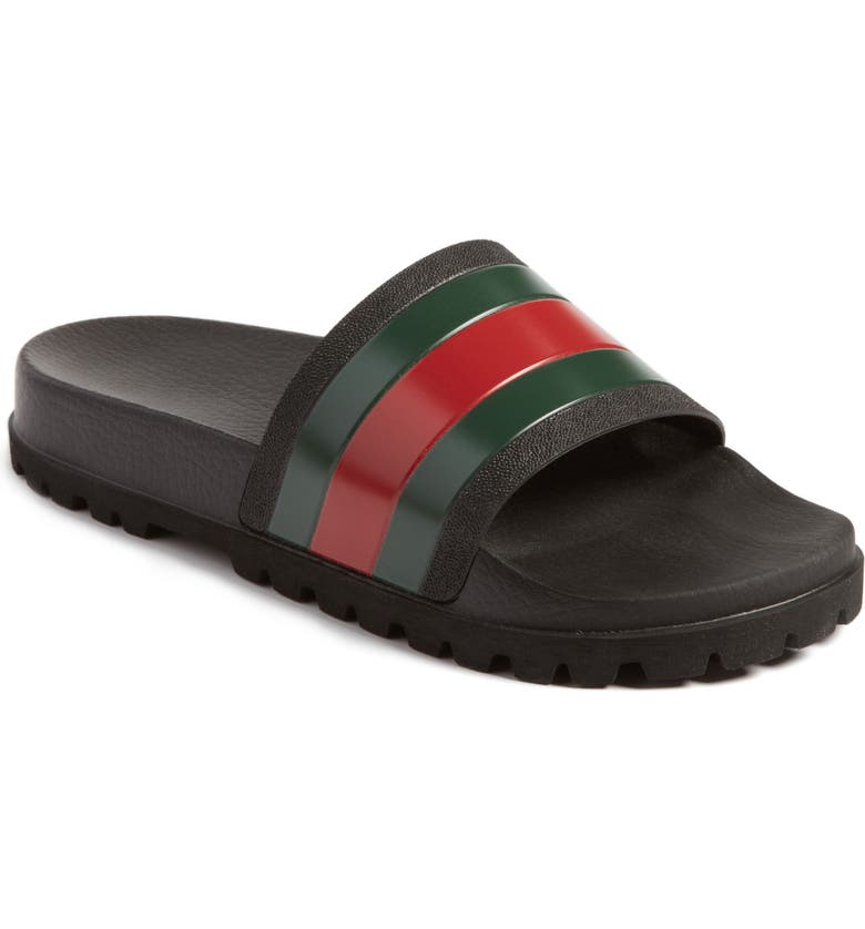 GUCCI 'Pursuit Treck' Slide Sandal, Main, color, NERO/NERO