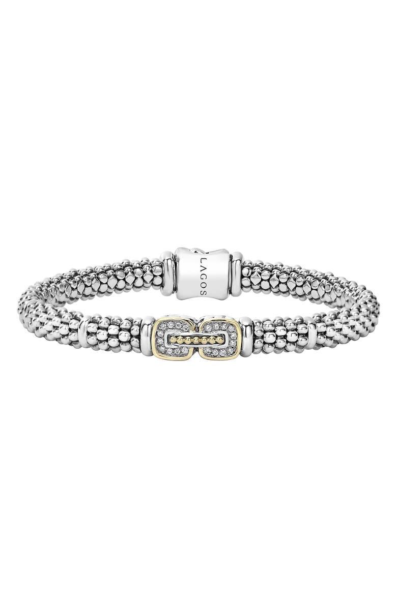 LAGOS Caviar Cushion Diamond Station Bracelet, Main, color, 040