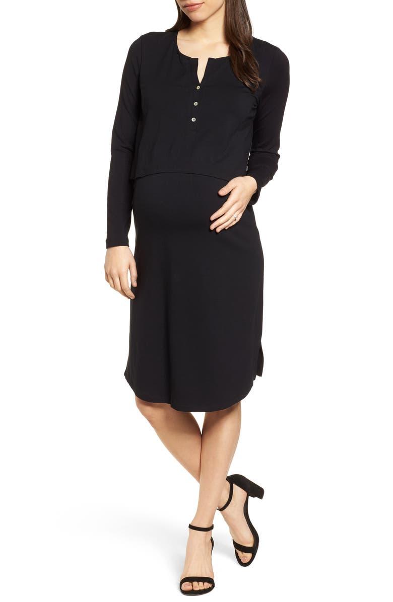 ISABELLA OLIVER The Signature Nursing/Maternity Dress, Main, color, CAVIAR BLACK