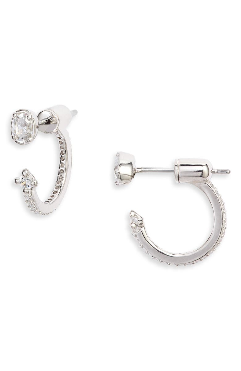 NADRI Issa Drop-Back Earrings, Main, color, RHODIUM