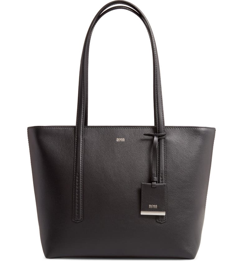 BOSS Taylor Small Leather Shopper, Main, color, BLACK