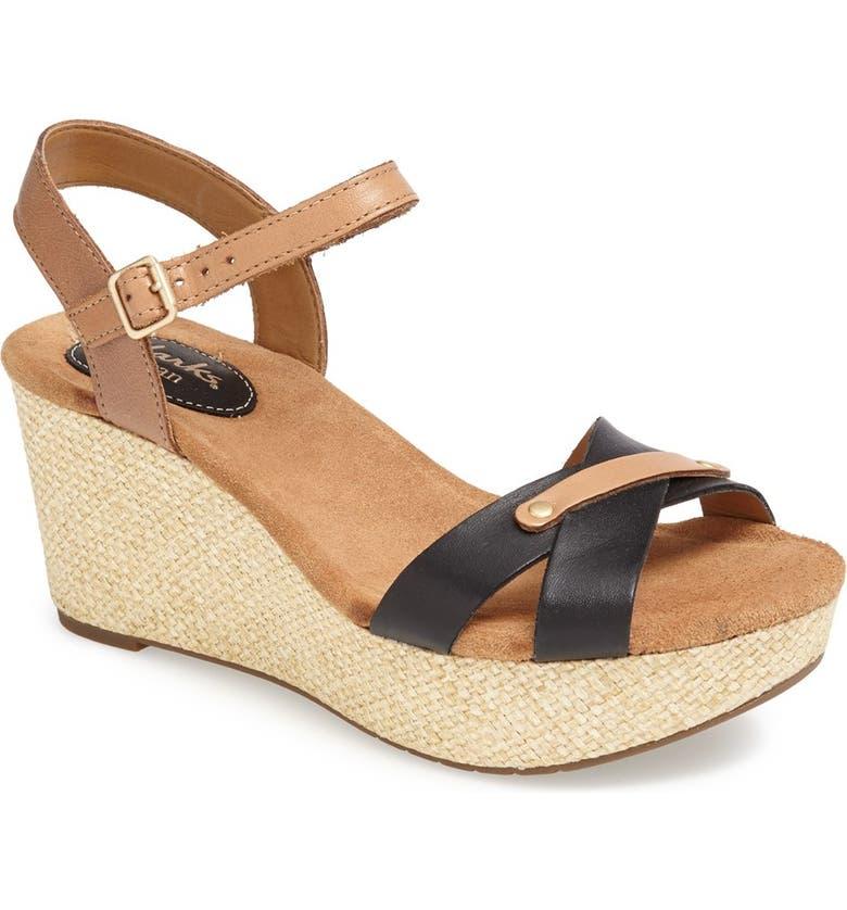 CLARKS<SUP>®</SUP> 'Caslynn Regina' Sandal, Main, color, BLACK