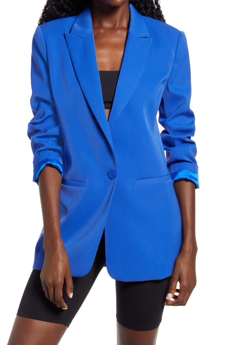 ENDLESS ROSE Tailored Single Button Blazer, Main, color, COBALT BLUE