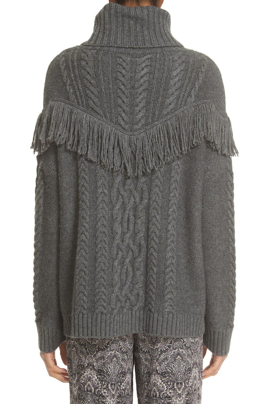 ,                             'Viviam' Fringe Cable Turtleneck Sweater,                             Alternate thumbnail 2, color,                             076