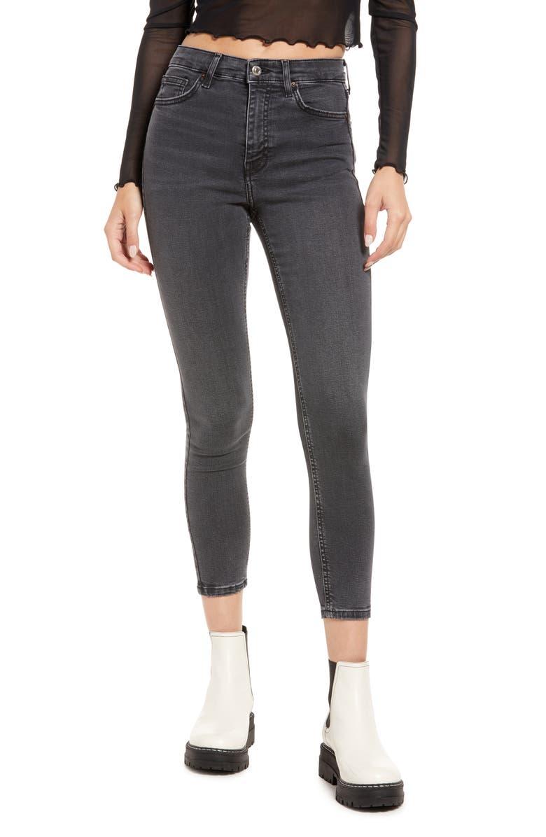 TOPSHOP Jamie High Waist Skinny Jeans, Main, color, BLACK