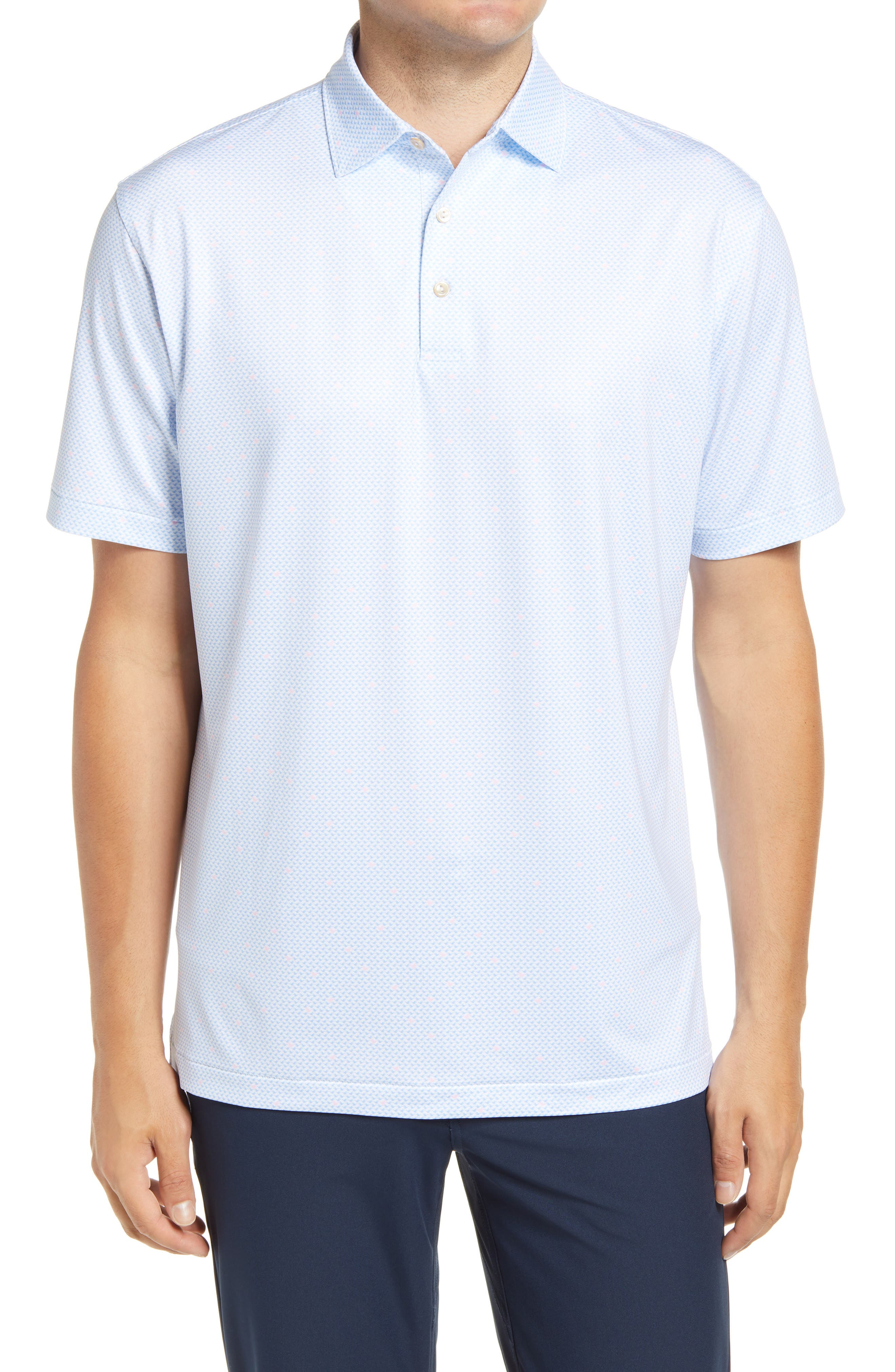 Stretchy, moisture-wicking fabric keeps up with you from links to lunch in an all-activity golf polo sporting enhanced UV protection and a pastel microprint. Style Name: Peter Millar Stocket Performance Jersey Polo. Style Number: 6092505. Available in stores.