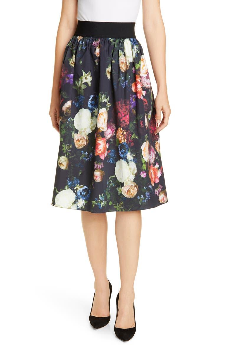 ADAM LIPPES Elastic Waist Floral Print Poplin Skirt, Main, color, MULTI FLORAL