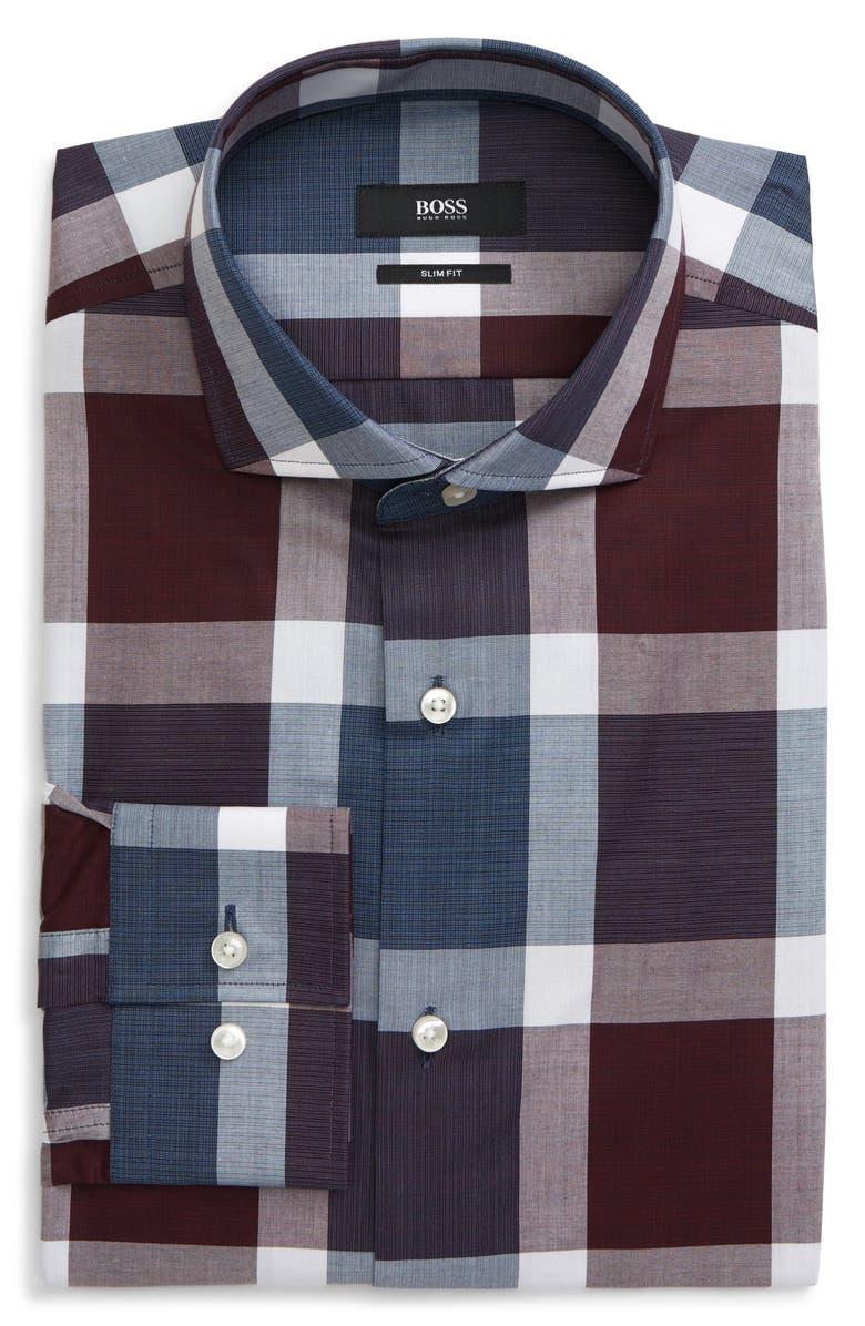 BOSS Jason Slim Fit Plaid Dress Shirt, Main, color, DARK RED
