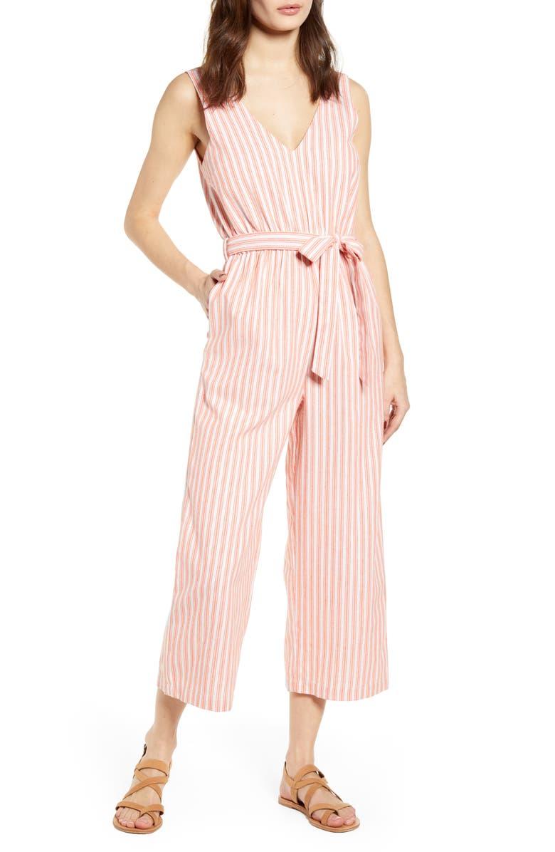 MINKPINK Stripe Crop Jumpsuit, Main, color, ORANGE/ WHITE