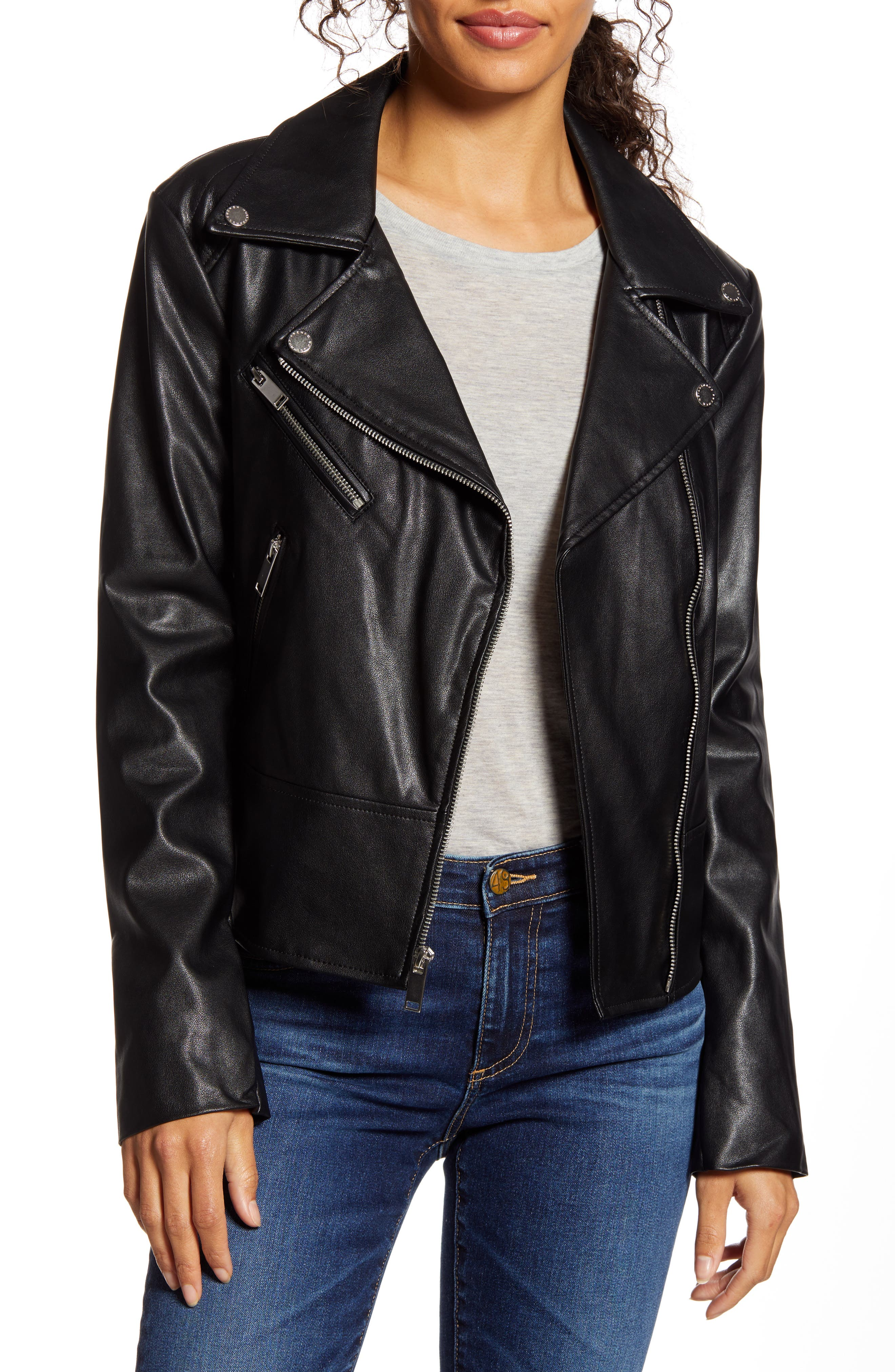Image of French Connection Quilted Back Faux Leather Moto Jacket
