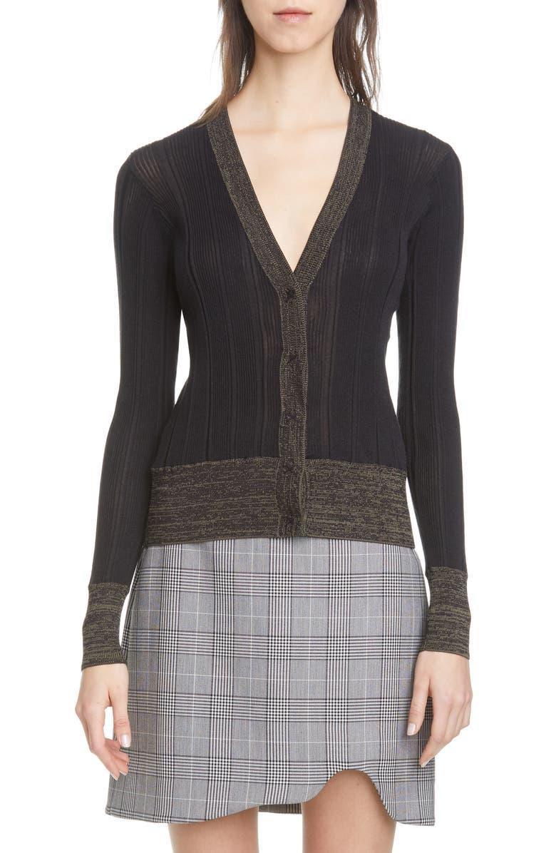 GANNI Rib Cotton Blend Cardigan, Main, color, BLACK