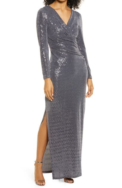 Eliza J SEQUIN WRAP FRONT LONG SLEEVE GOWN