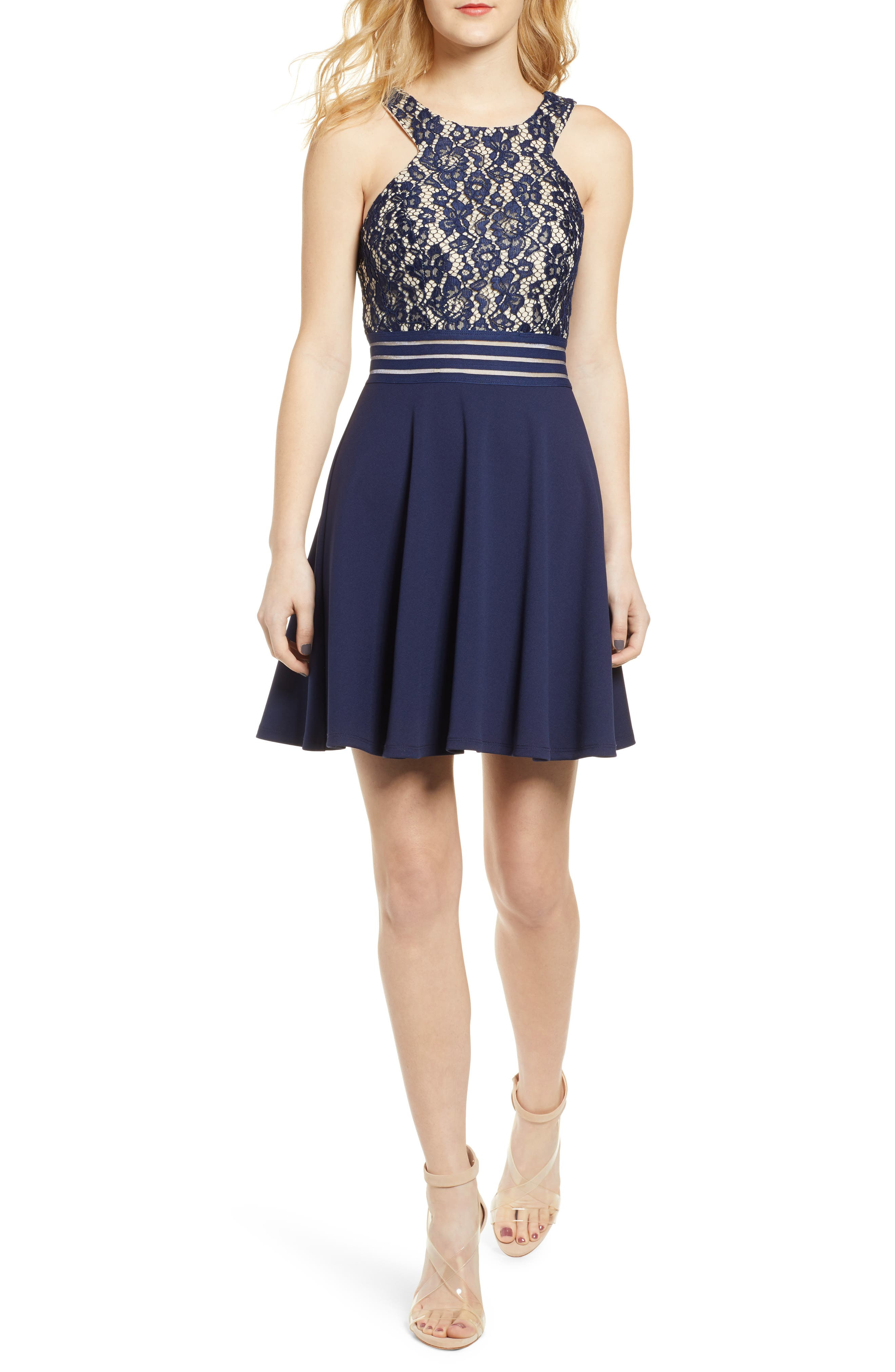 Speechless Lace Fit & Flare Dress, Blue