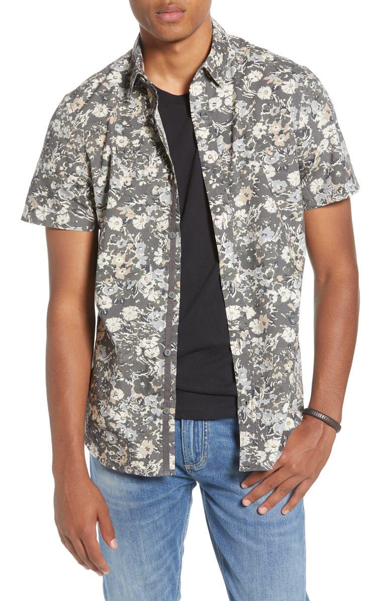 TREASURE & BOND Trim Fit Floral Short Sleeve Button-Up shirt, Main, color, 030