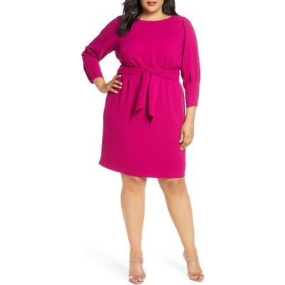 Plus Size Vince Camuto Tie Waist Crepe Dress, Pink