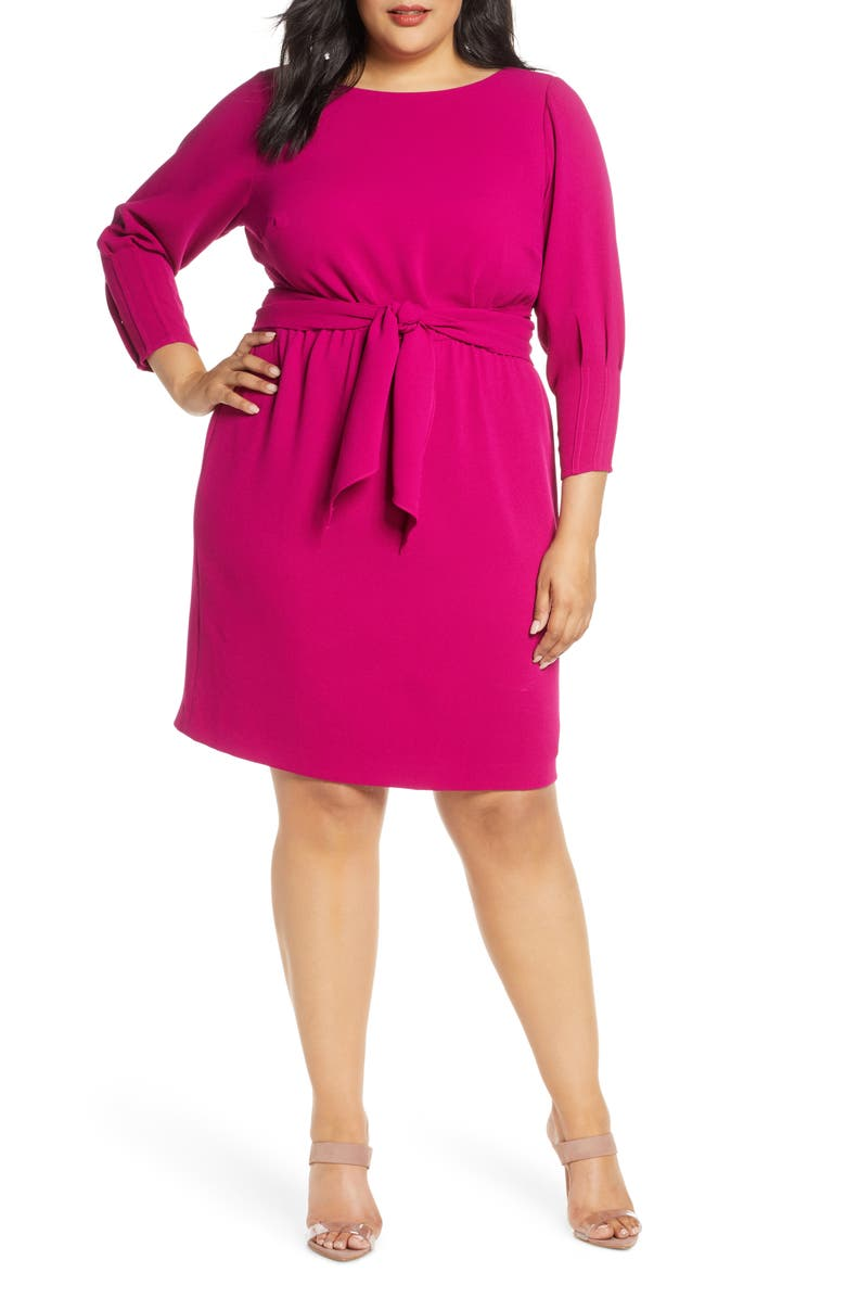 VINCE CAMUTO Tie Waist Crepe Dress, Main, color, 678