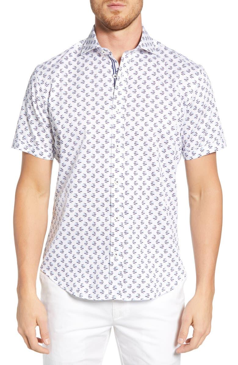 BUGATCHI Shaped Fit Print Shirt, Main, color, SNOW